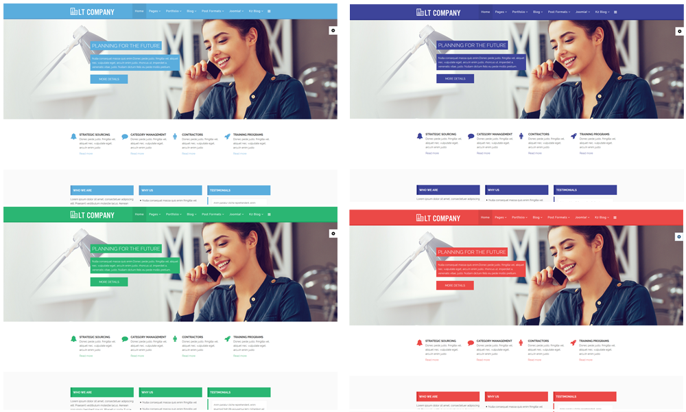 Lt company free joomla business template this template builds with 4 color styles if you like another color without 4 default color styles you can change it via template settings easily with accmission Choice Image