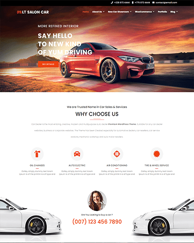 LT Salon Car – Free responsive car dealer wordpress theme