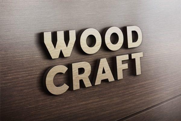 3D Wooden Logo Design MockUp