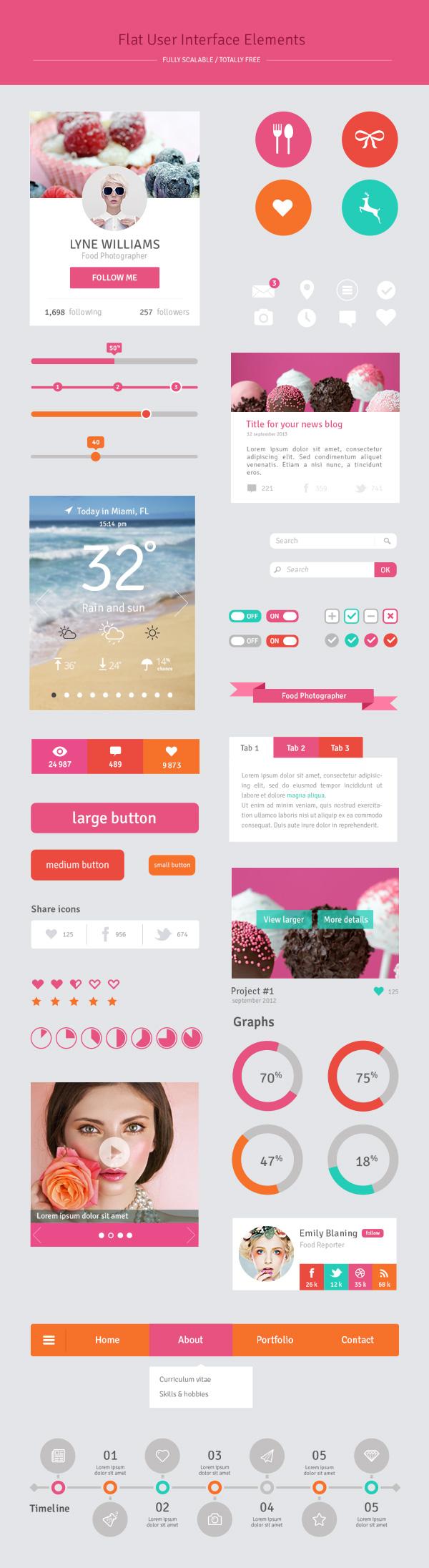 Free Flat UI Elements