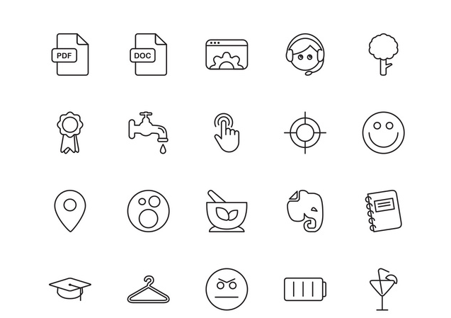 Line Free Vector Icons Set