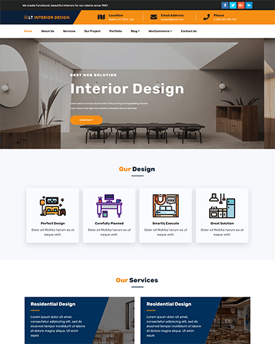 LT Interior Design Onepage – Free One Page Responsive Furniture / Interior Design Joomla template