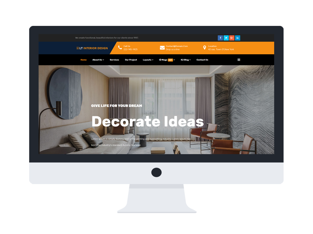 Interior design company joomla template download