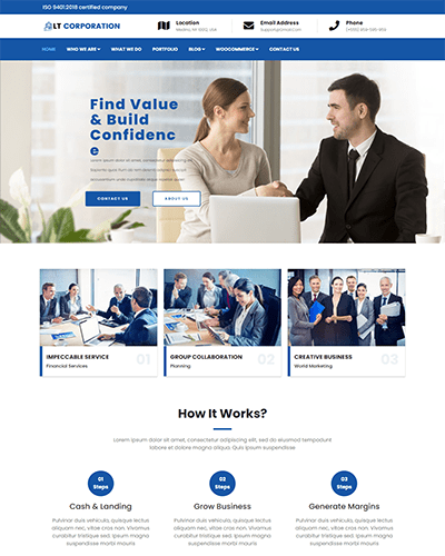 LT Corporation – Free Responsive Corporation WordPress theme
