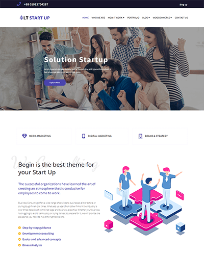 LT Start Up Onepage – Free One Page Joomla Startup Business plan template