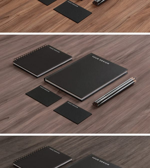 Stationery MockUp Black Paper on Wood