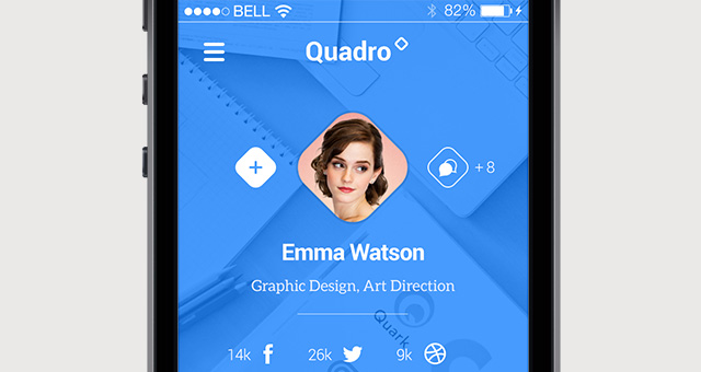 Quadro iPhone App UI Kit PSD