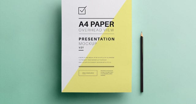Psd Overhead A4 Paper MockUp