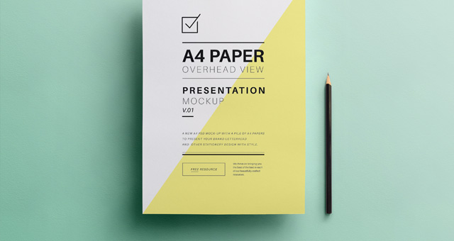 Psd A4 Overhead Paper Mock Up Responsive Joomla And