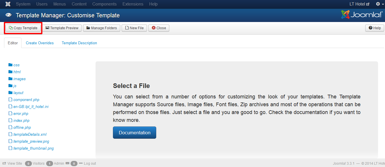 How to change template folder in Helix Joomla! template