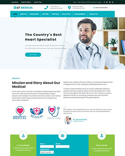 LT Medical – Free responsive medical wordpress theme