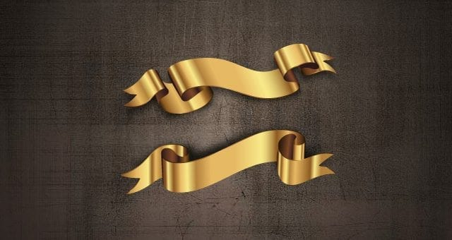 Golden Decorative Free Vector Ribbons Set