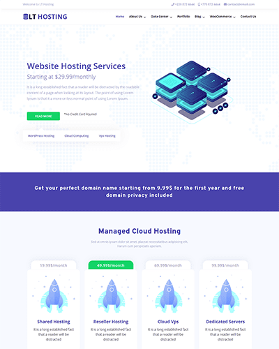 LT Hosting – Free responsive wordpress theme for hosting