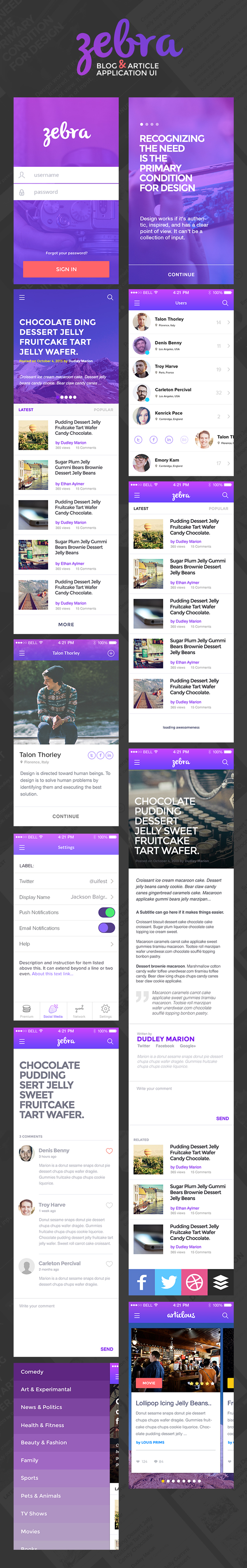 Zebra: Blog and Article App UI Design