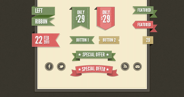 Retro Web Ribbons Vintage Psd Pack Free Download