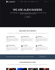 LT Gravity – Free Responsive Universe / Planet WordPress theme
