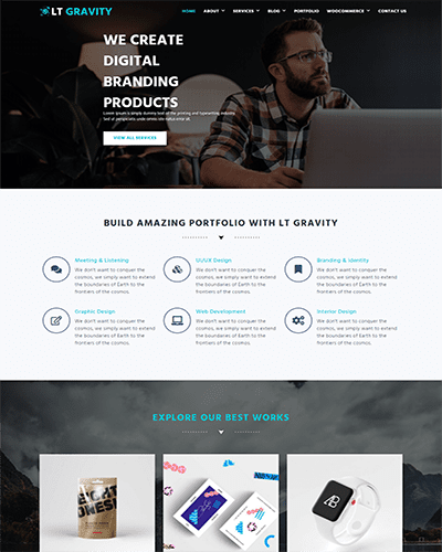 LT Gravity – Free responsive portfolio wordpress theme