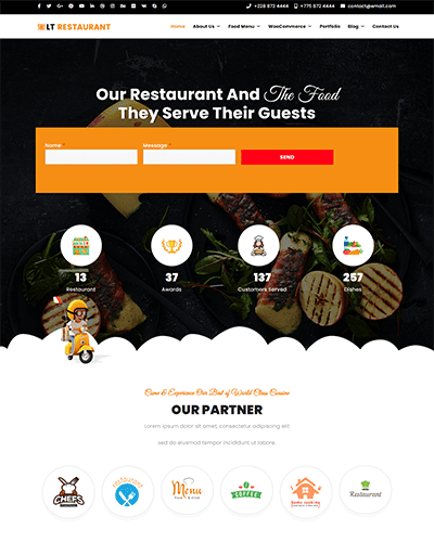 LT Restaurant – Free responsive wordpress themes for restaurant