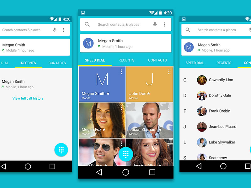 8Android L Contacts User Interface