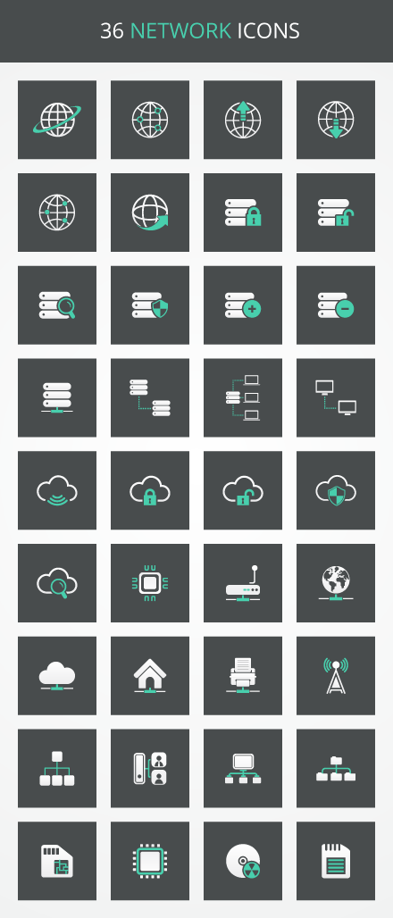 Free network vector icons collection for web design