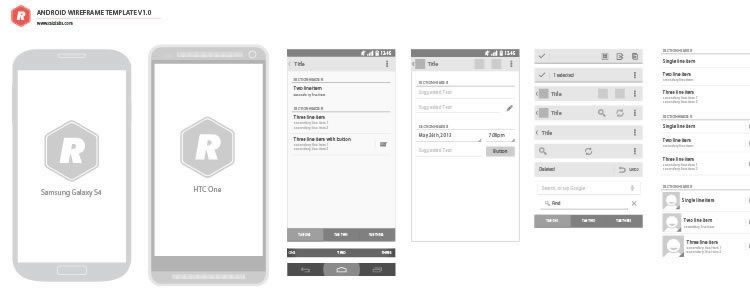 9Android Vector Wireframing Toolkit