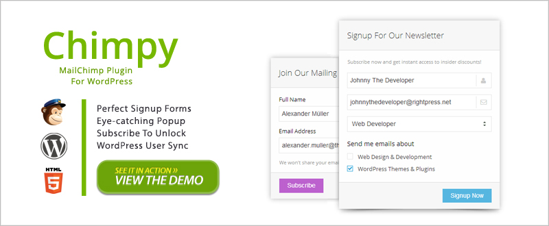 7Chimpy MailChimp WordPress Plugin