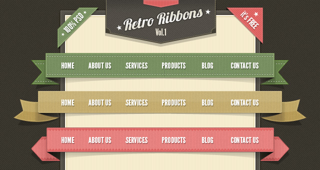 Retro-Web-Ribbons-Vintage-Psd-Pack