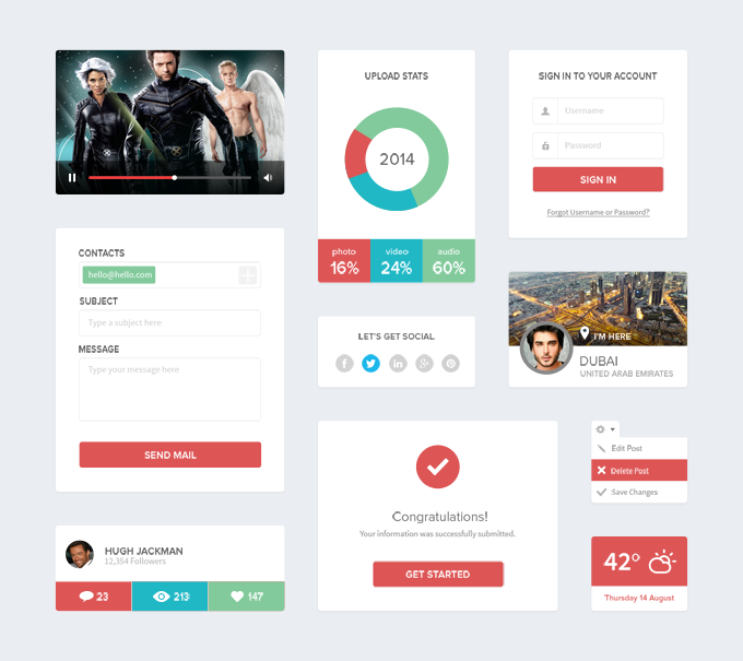 11Clean Flat UI Kit Free PSD