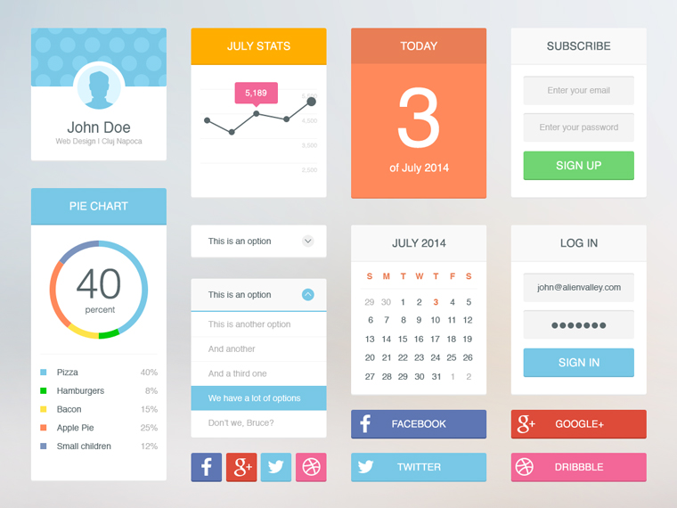 12Soft Flat UI Kit Free PSD