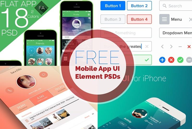 15 18 Mobile App UI Kits Free PSD