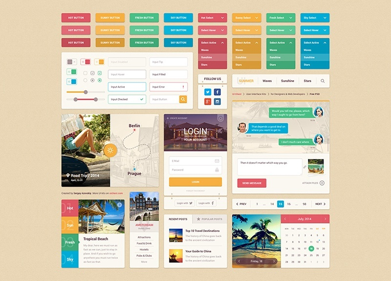 17Bright Summer UI Kit Free PSD