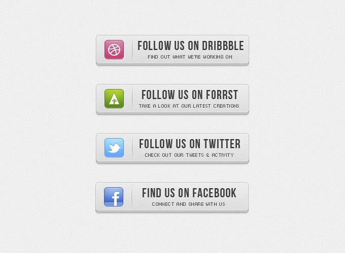 193D Follow Us Buttons Free PSD