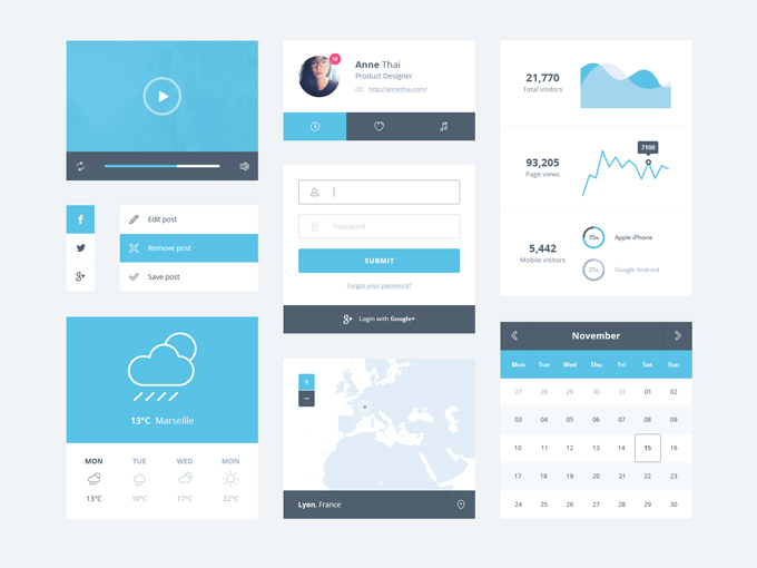 19Ice Blue Minimal UI Kit Free PSD