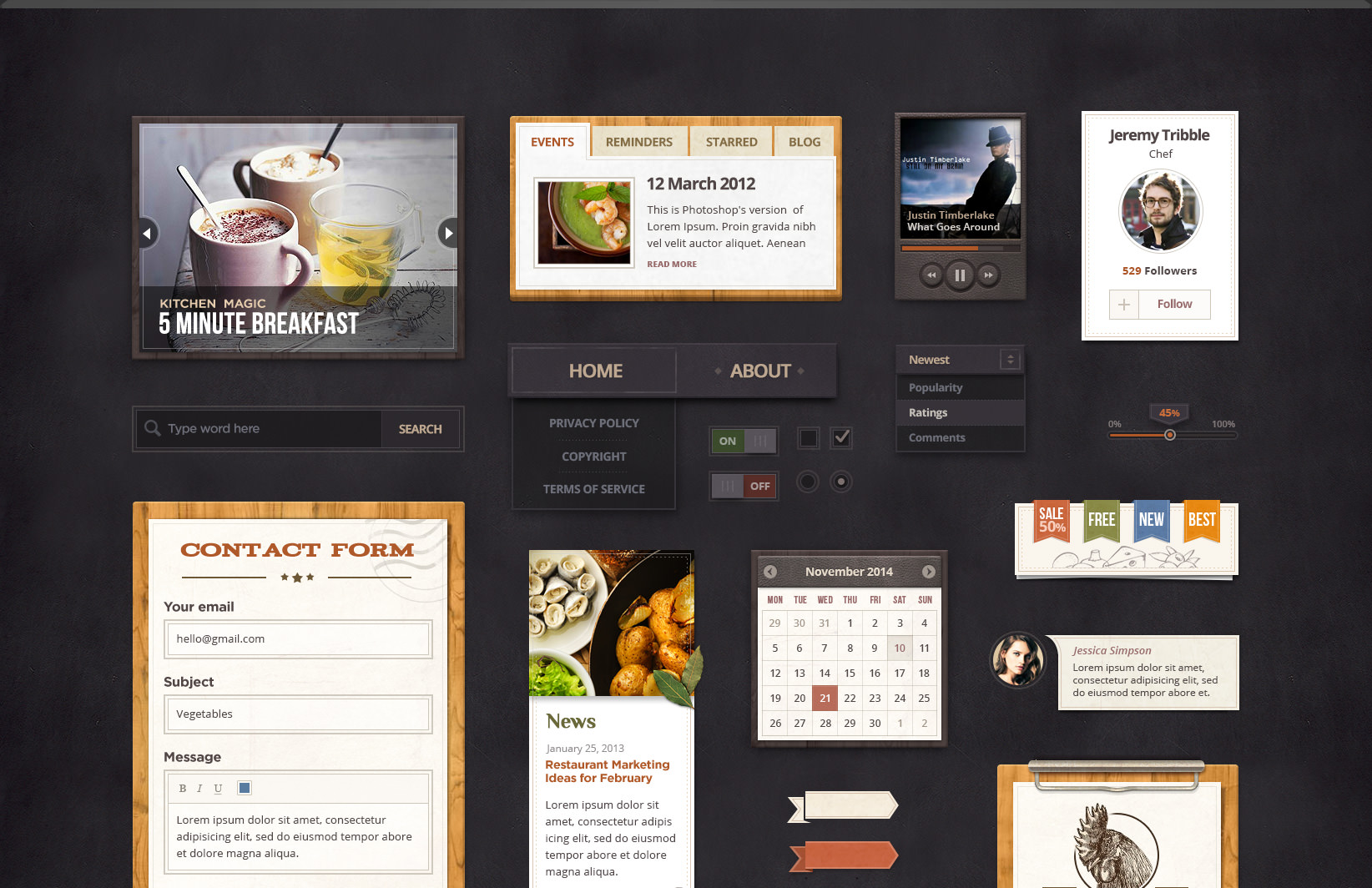 1Spicy Treats Restaurant UI Kit Free PSD
