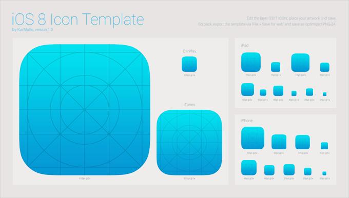 1iOS 8 App Icon Template Free PSD
