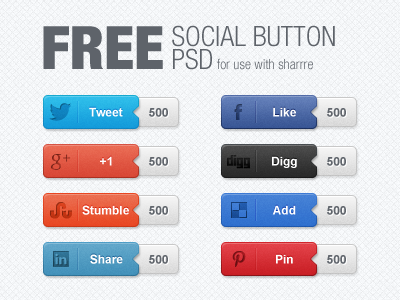 20Social Buttons with Counters Free PSD