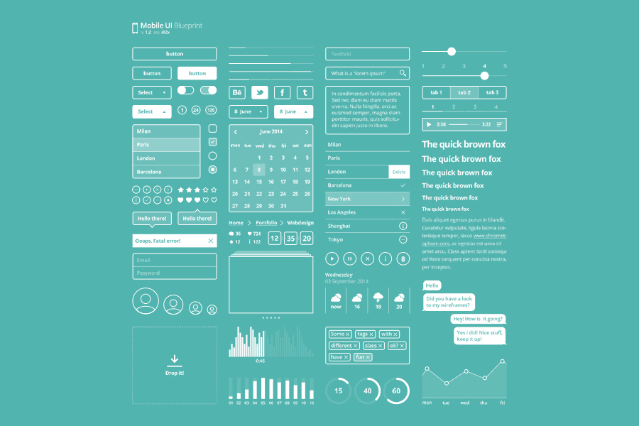 2Mobile UI Kit Blueprint Free PSD