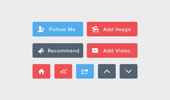 3Flat Button Set Free PSD