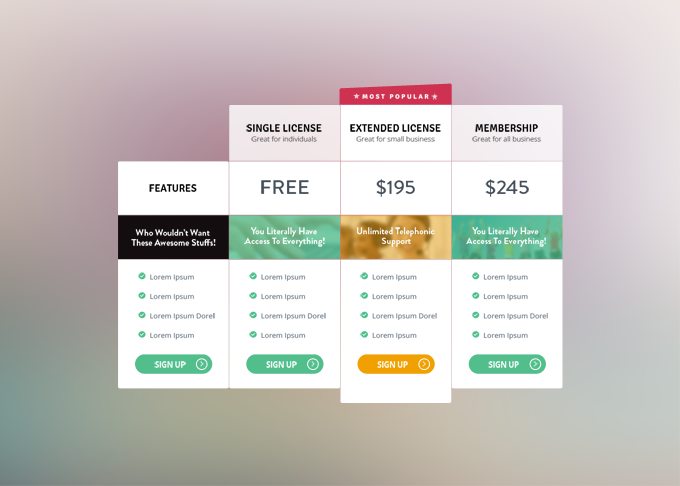 4Fancy Pricing Tables Free PSD