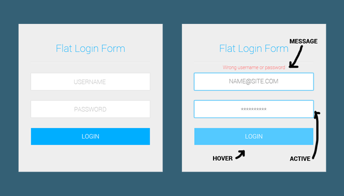 5Flat Color Login Form Free PSD