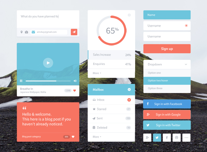 5Flat & Colorful UI Kit Free PSD