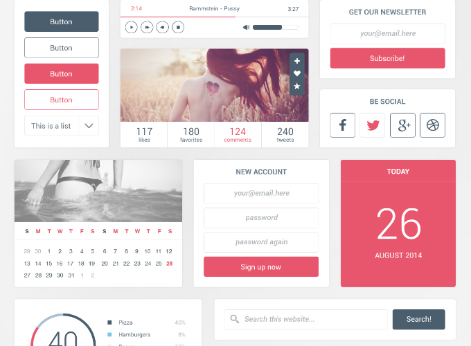 7Eye Candy UI Kit Free PSD