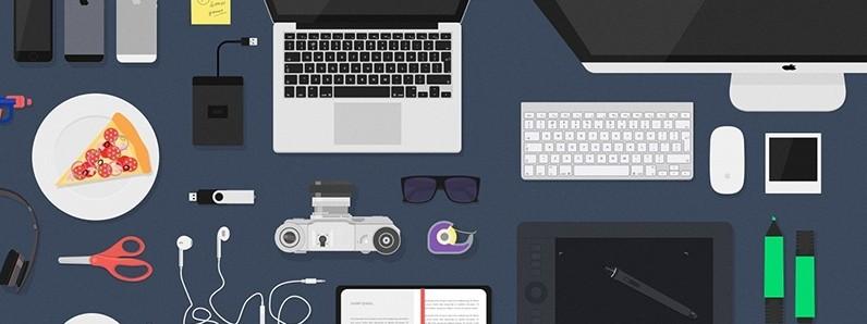 7Flat Desk Items Mockup Free PSD