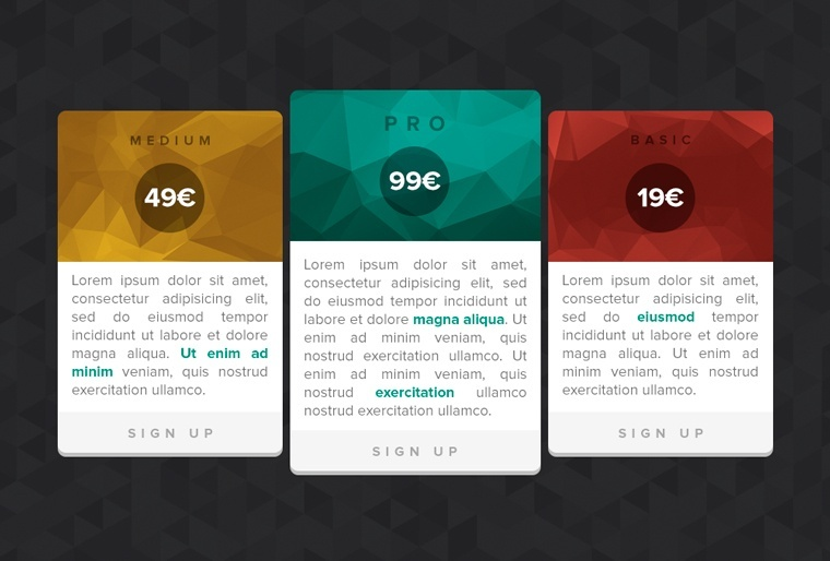 8Polygonal Pricing Tables Free PSD