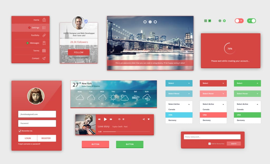 8RedLight Complete UI Kit Free PSD