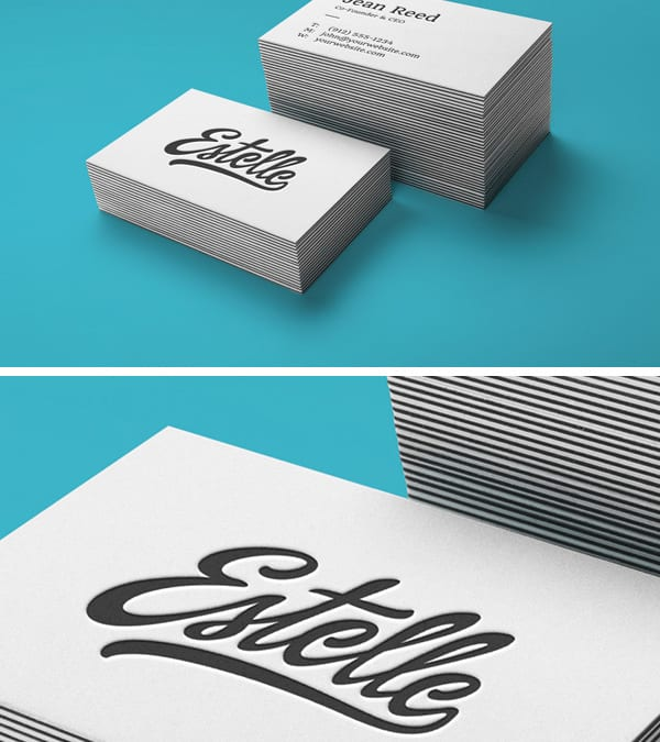 Stack Letterpress Business Cards MockUp Free Template