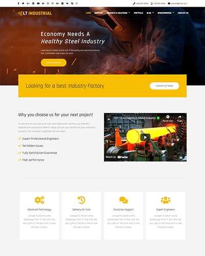 LT Industrial – Free One Page Joomla Industry template