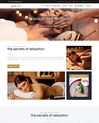 LT Spa – Free Responsive Sauna & Spa WordPress theme