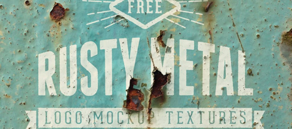 18Free Realistic Rusty Metal Logo Mockup Textures