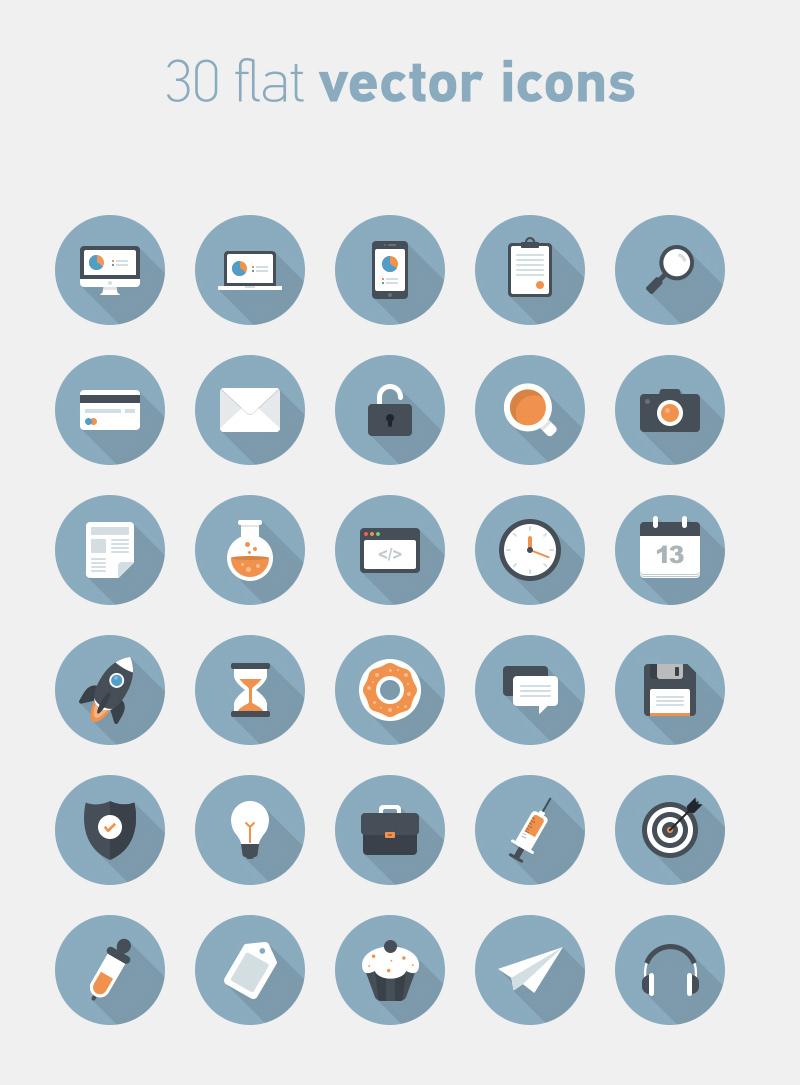 Flat Circular Vector Icons